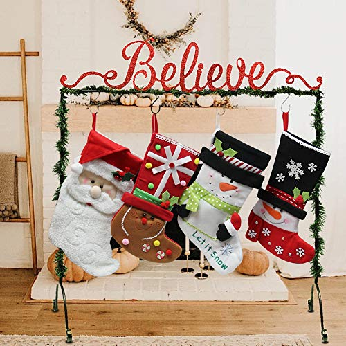 Believe Christmas Stocking Holder Stand Hangers