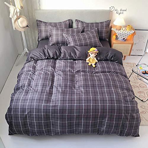 Wenhu Classic Bedding Set 5 Size Grey Blue Grid Summer Bed Linen 4pcs/Set Duvet Cover Set Pastoral Bed Sheet AB Side Duvet Cover,11,Super King
