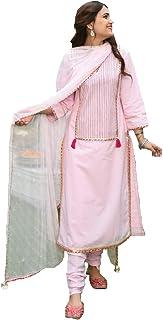 Monika Silk Mill Women's Pink Cotton Silk Embroidered Semi Sititched Salwar Suit with Dupatta