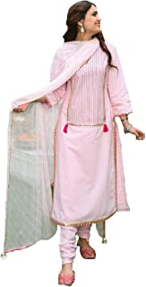 Style Amaze Women's Pink Cotton Silk Embroidered Semi Sititched Salwar Suit with Dupatta