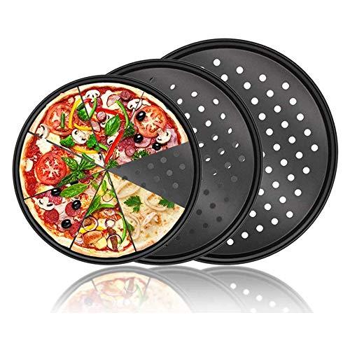 YYLH Bandeja de Pizza para Horno con Agujeros, Juego de 3 Piezas, SartéN para Pizza, Platos Antiadherentes para Pizza, Parrilla para Barbacoa, 24,5 Cm / 28 Cm / 32 Cm