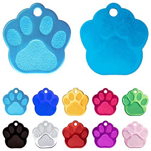Iberiagifts - Placa en Forma de Huella para Mascotas pequeñas-Medianas Chapa Medalla de identificación Personalizada para Collar Perro Gato Mascota grabada (Azul clarito)