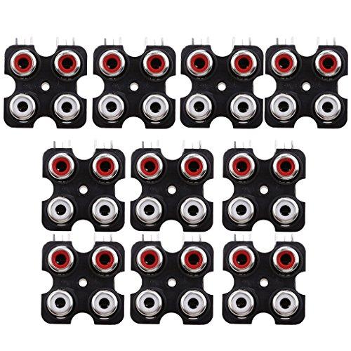 Gazechimp 10 Stü PCB Mount AV Konzentrische Steckdose 4 Cinch Buchse Connector