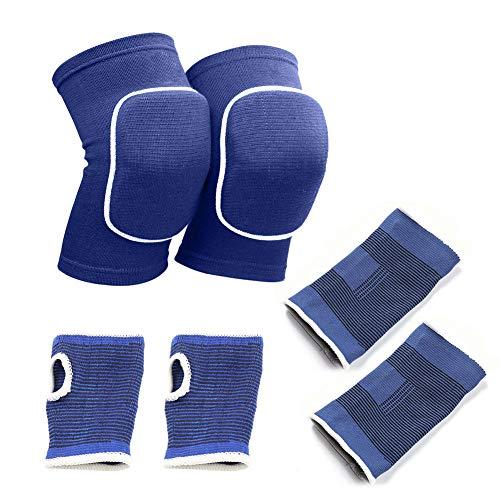 Migimi Rodilleras deportivas, transpirables rodilleras, gruesas almohadillas de esponja, protegen los tobillos codo, para deportes al aire libre, baloncesto (rodilleras+coderas)