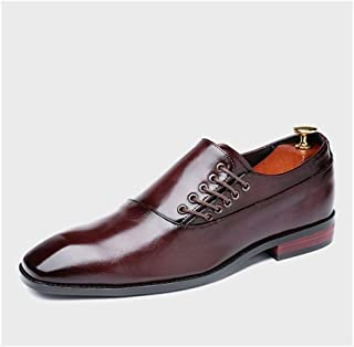 ZHANGLEI Classic Oxford for Men Formal Wedding Shoes Side Lace up PU Leather Burnished Style Vegan Pointed Toe Rubber Sole Block Heel (Color : Wine red, Size : 5 UK)
