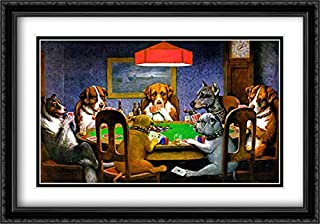 A Friend in Need/Dogs Playing Poker 2X Matted 40x28 Large Black Ornate Framed Art Print by Cassius Marcellus Coolidge