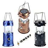 DNEXT Solar Emergency LED Rechargeable Light Lantern with USB Mobile Charging Camping Outdoor Collapsible Lamp Flashlight Hanging Torch Point and 2 Power Source Solar