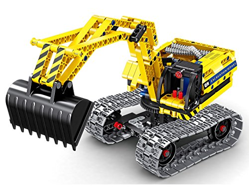 Bo-Toys Building Bricks STEM Toy, 342 Pcs Excavator & Robot Construction Blocks, Build It Yourself Toys