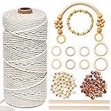 Aenamer Spago Bianco 3mm x 200m, Cotone Naturale Corda Macrame, Filo Macrame e Accessori p...