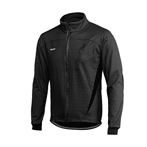 ARSUXEO Cycling Jacket Mens Waterproof Windproof Reflective Winter Thermal Softshell Coat 16H Black L