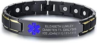 Custom Free Engraving Black Stainless Steel Magnetic Therapy Health Emergency Medical Alert ID Bracelets for Men Dad,8.6