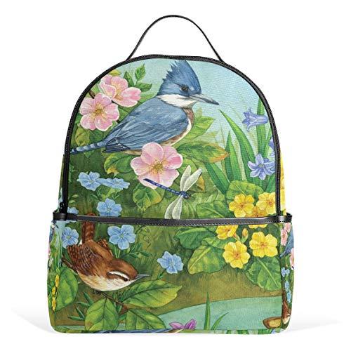 Rucksack mit Vögeln, Blumen, Libelle, Fluss, Leinen, Rucksack, große Kapazität, lässig, Reisen, Tagesrucksack für Kinder, Mädchen, Jungen, Kinder, Studenten