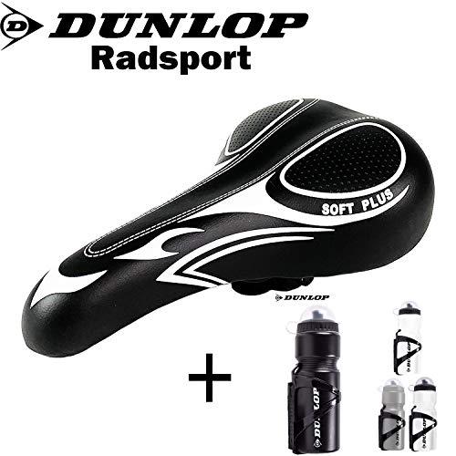 Dunlop | Rennrad | Mountainbike Sattel | Fahrradsattel | Rennradsattel gepolstert| Stoßresistenter weicher Komfortsattel | Racing Sattel schwarz + Dunlop Trinkflasche