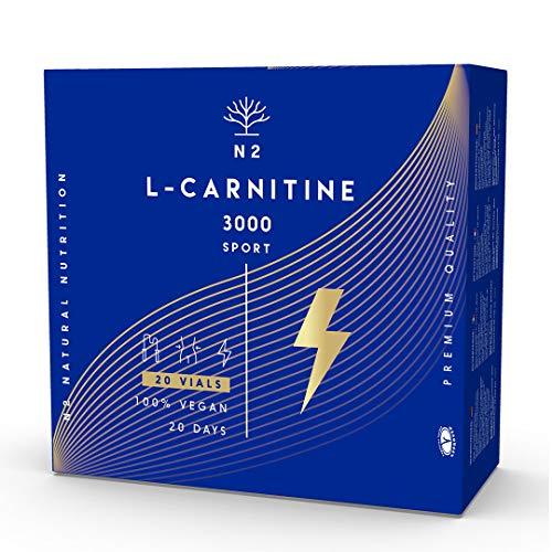 L CARNITINA Liquida 3000 mg.Suplemento Deportivo L-Carnitina Natural-Quemagrasas Líquido-Alta Absorción-Mejor Rendimiento.20 Viales-Facil Apertura-No se Rompen.Certificado VEGANO. N2 Natural Nutrition