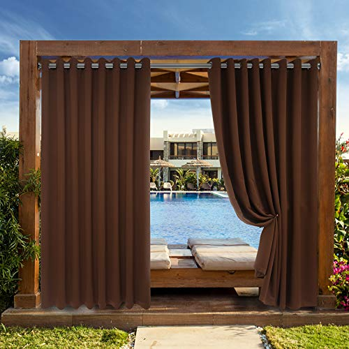Drewin Outdoor Patio Curtains Waterproof 1 Panel Windproof Weather Resistant Blackout Curtain Privacy Drapes Indoor Gazebo Cabana Pergola Swimming Pool Decor, Brown 100x95 Inches