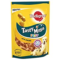 Pedigree Tasty Minis are little chew treats for puppies in a delicious chicken flavour made for training, rewarding or treating your pet Pedigree Tasty Mini cubes are designed for young dogs aged 4 to 18 months and come in a resealable pack to keep s...