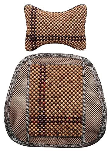 Cubierta de asiento de asiento, respaldo de asiento con cuentas de madera natural de verano con reposacabezas, estera protector para uso de la oficina de automóviles ( Color : Brown , Size : B )