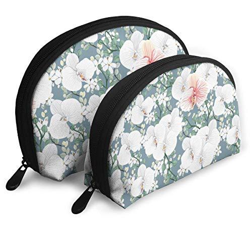 Sac de Maquillage de Fleur Sacs de Voyage Petit Sac de Coquille Pochette d'embrayage de Toilette Portable 2Pcs