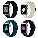 YCHDDER Nylon Elastic Watch Band Compatible with Apple Watch 42mm 44mm, Adjustable Sport Solo Loop Wristband Strap Compatible with iWatch Series 6/5/4/3/2 / 1SE(Black+Royal Blue+Light white+Purple)