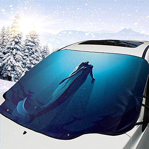Tridge Meerjungfrau im tiefen Wasser bis zur Oberfläche Schwimmen Sonnenstrahlen Bild Ozean Thema Auto Windschutzscheibe Abdeckung Faltbare Sonnenschirm