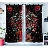Indian Home Decor Baum des Lebens Fenster Behandlungen Vorhänge Panel Set Raumteiler Schlafzimmer Dekor handgefertigte Wand hängen Boho Tür Baumwolle Designer böhmischen Balkon schiere...