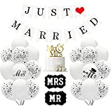 Just Married - Guirnalda decorativa para boda, 30 globos blancos, con texto 'MR y MRS, 10 globos Just Married, decoración de boda, color blanco