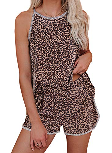 Asvivid Womens Cute Leopard Cheetah Printed High Neck Sleeveless Summer Tank Tops and Shorts Pajamas Set s PJ Set S Brown