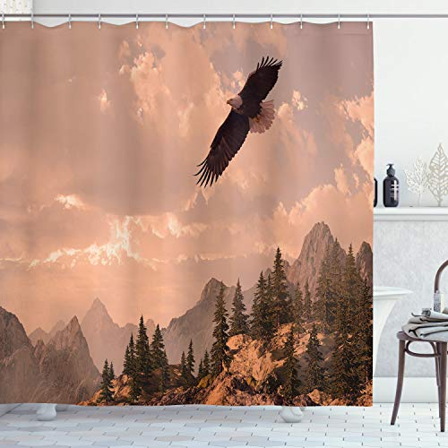 """Ambesonne Eagle Shower Curtain, Nature Photography of Rocky Mountains and Forest with a Bald Eagle Flying Over It, Cloth Fabric Bathroom Decor Set with Hooks, 70"""" Long, Rose Green"""