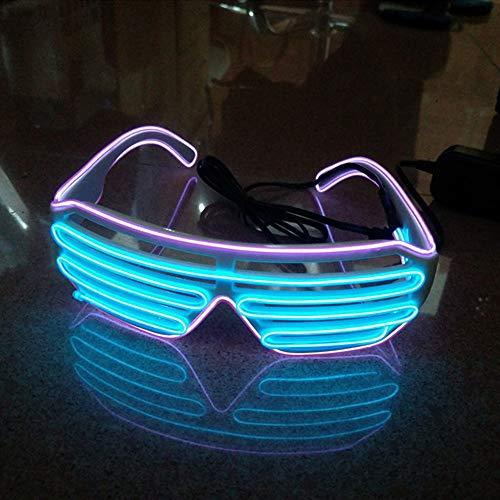 Sxspace Light Up LED Brille Neuheit Leuchtende Gläser Einstellbar EL Wire Neon Rave Brillen (Blau-Lila)