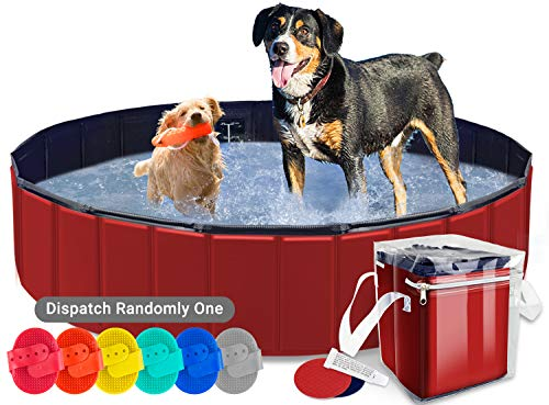AYITOO Piscina para Perros, Bañera para Perros, Antideslizante Piscina para Mascotas Perros, Plegable Bañera Mascotas para Piscina, PVC Natación Piscina para Perros 160 cm x 30 cm Rojo