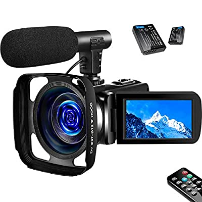 SAULEOO 4K Video Camera Camcorder Digital YouTube Vlogging Camera Recorder UHD 30MP 3 Inch Touch Screen 18X Camcorder with Microphone,2 Batteries by SAULEOO
