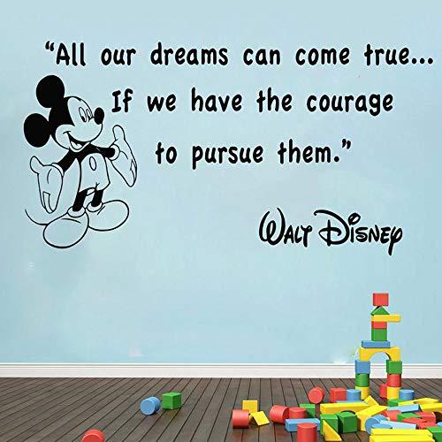 pegatina de pared etiqueta de la pared Mickey Mouse Wall Quotes Todos nuestros sueños pueden hacerse realidad Calcomanías para la habitación del bebé Película para muebles Murales