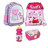 Peppa Pig Wutz Einhorn 4 Teile Set Rucksack Tasche Kindergarten mit Sticker von Kids4shop Turnbeutel BROTDOSE TRINKFLASCHE