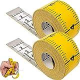 Medida de cinta con longitud total de 150 cm, Paquete de 2, medida de cinta 2 en 1 con escala cm y pulgada, medición de ropa, grasa corporal, cinta de medición de rollos de plástico de fibra de vidrio