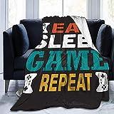Yaxinduobao Cotización del Juego de Mantas y Diciendo. Eat Sleep Game Repeat. Manta y Mantas de Cama