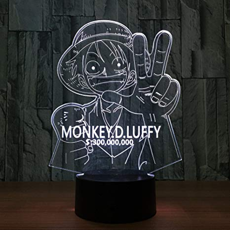 Lampara LED One Piece Luffy Cartel Cambia Color USB Luz Nocturna