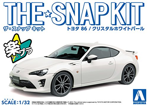 Aoshima 1/32 Scale Toyota 86 Crystal White Pearl Pre-Painted Snap-Fit Kit - Plastic Car Model Building Kit # 54185