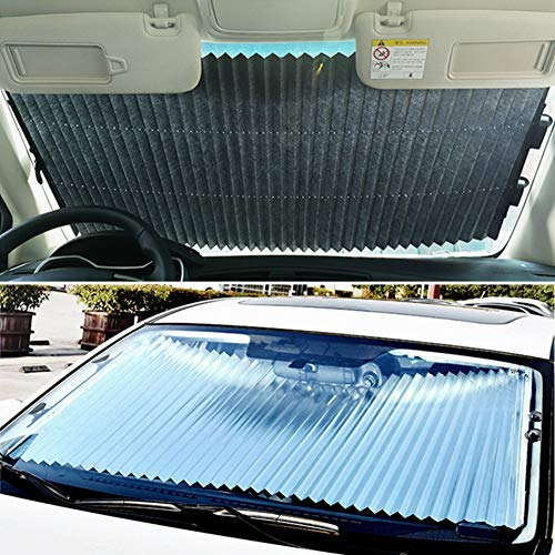 Auto Sonnenschutz, versenkbare Auto Vorhang Sonnenschutz Wärmeisolierung Sonnenschutz Auto Front Windschutzscheibe Sonnenschutz für Kinder