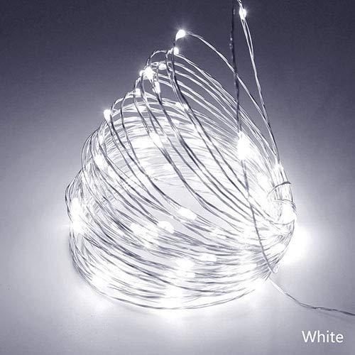 Led-koord met ledverlichting, koperen slinger, voor buiten, creatieve verlichting, RGB, voor tuinfeestdecoratie, wit, 50 m