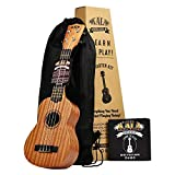 Official Kala Learn to Play Ukulele Soprano Starter Kit, Satin Mahogany – Includes online lessons, tuner...