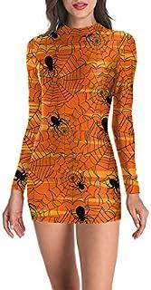 Abiti Slim di Halloween Maniche Lunghe Clubwear Costume di Halloween per Donna Vestito Stretto Ma