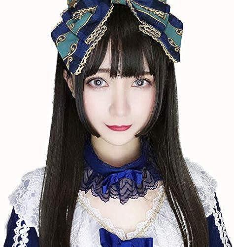 Peluca hembra negro pelo largo y liso cos pelo largo falso madre vestir anime cosplay pelo falso natural negro