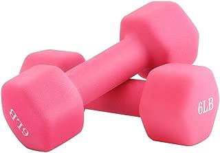Portzon 2 lb Weights Neoprene Dumbbells, Coated for Non-Slip Grip,Pink,1 Pair