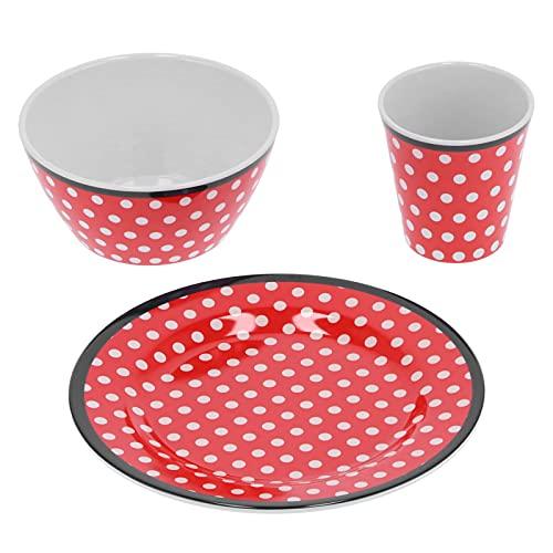 Plato de fruta, cuenco, kit de taza Juego de vajilla con patrón de puntos rojos Accesorio de cocina para el hogar