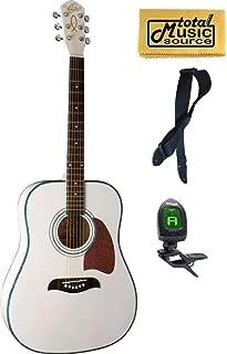 Oscar Schmidt Dreadnought White Spruce Top Acoustic Guitar FREE STRAP TUNER