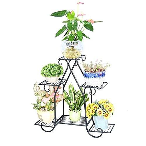 Flower racks Étagère en Pot de Plancher en Fer forgé de Style européen, Support végétal, Porte Fleur pour Balcon, Salon, Cadre intérieur Bonsai (Couleur: Noir, Taille: Grande)