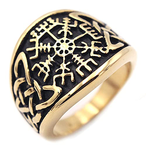 QLJYT Anillo de Acero Inoxidable, Vegvisir Viking Brújula Anillos de Nudo Celta,Oro,12
