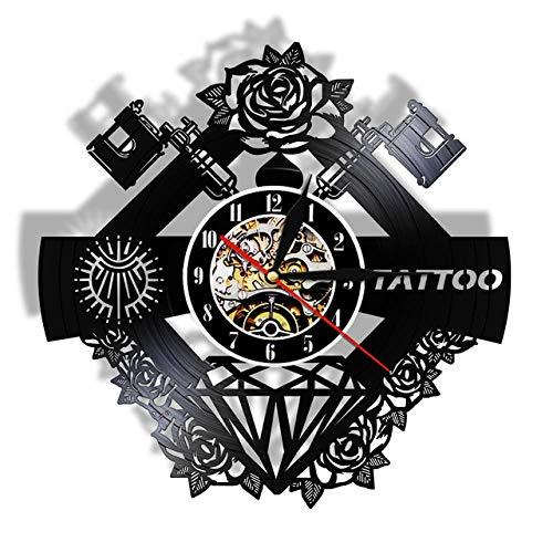 FUTIIF Tattoo Maschine Wanduhr Aus Echtem Vinyl Schallplatte Tattoo Studio Shop Schwarz Uhr Hipster Männer Farbwechsel Nachtlicht Mit Led