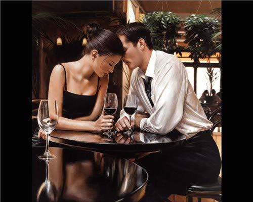 5D Kit De Pintura De Diamante Para Adultos Cristal Amantes Bebiendo Vino...