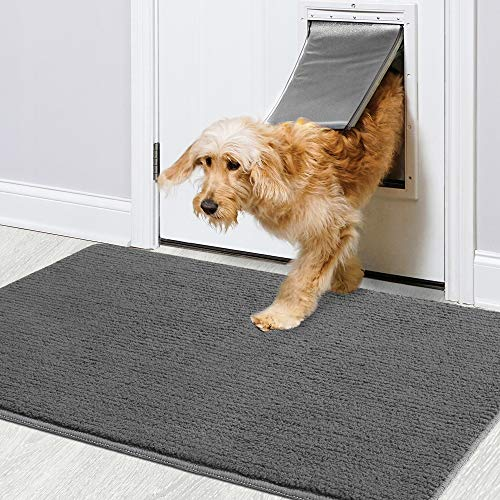 "Color&Geometry Indoor Doormat 24""x36"" Non Slip Backing Machine Washable Super Absorbent Inside Mats, Low-Profile Rug Doormats for Entryway,Front Door, Back Door Rug Grey"